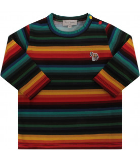 PAUL SMITH JUNIOR Multicolor babyboy T-shirt with zebra