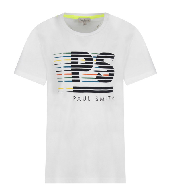PAUL SMITH JUNIOR White boy T-shirt with black logo