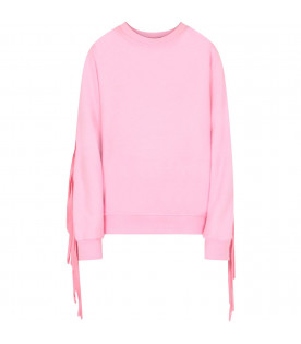 MSGM KIDS Pink girl sweatshirt with fringes