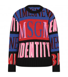 "MSGM KIDS Colorful ""Msgm identity"" girl sweater"