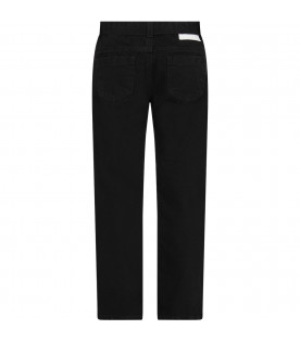 MSGM KIDS Black denim girl jeans with white logo
