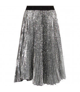 MSGM KIDS Silver sequined girl skirt