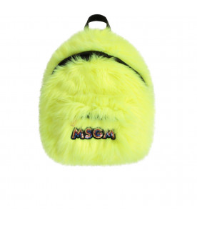 MSGM KIDS Neon yellow girl backpack with colorful logo
