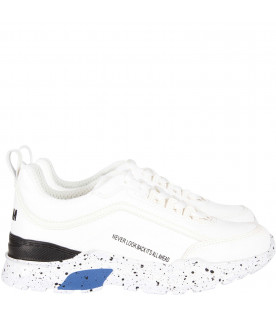"MSGM KIDS White kids sneaker  ""Never look back it's all ahead"""