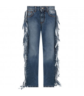 MSGM KIDS Light blue denim jeans girl skirt with fringes