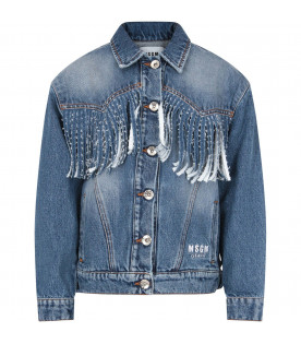 MSGM KIDS Oversize denim denim jacket with fringes