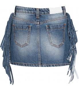 MSGM KIDS Light blue denim girl skirt with fringes
