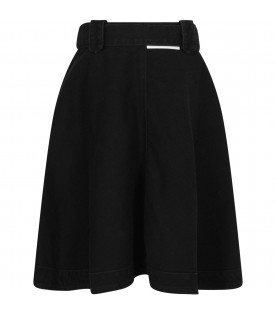 MSGM KIDS Black denim girl skirt with white logo