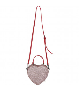 Pink girl bag with red writing
