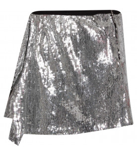 Silver girl skirt with ruffle