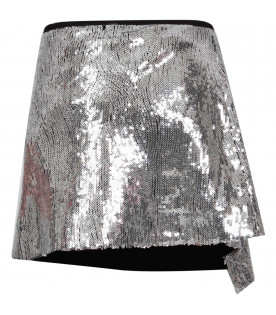 ALBERTA FERRETTI JUNIOR Silver girl skirt with ruffle