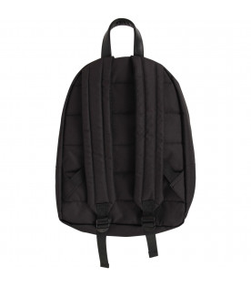 MSGM KIDS Black kids backpack with white and yellow logos