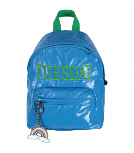 Azure girl backpack with green writing