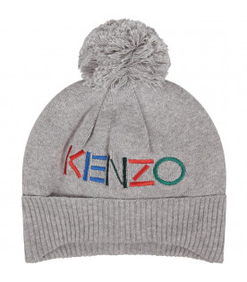 KENZO KIDS Grey babygirl hat with colorful logo