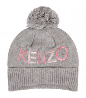 KENZO KIDS Grey babygirl hat with pink logo