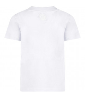 White kids T-shirt with red and white logo