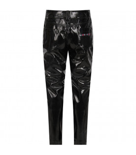 ALBERTA FERRETTI JUNIOR Black girl pants with colorful logo