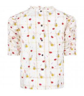 White ''Dionne'' girl blouse with colorful all-over flowers