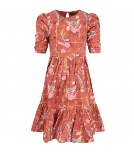Red ''Samantha'' dress with colorful flowers