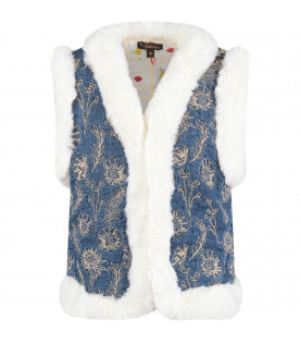 "VELVETEEN Blue ""Robyn"" vest with gold flowers"