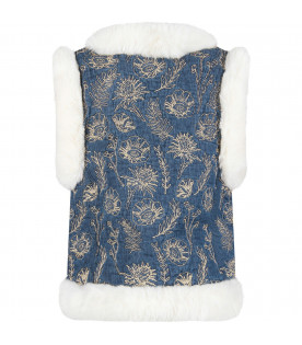 """Blue """"Robyn"""" vest with gold flowers"""