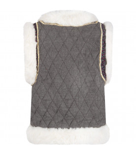 """Grey """"Robyn del"""" vest with gold details"""