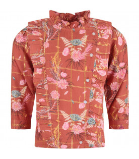 Red ''Nancy'' girl blouse with colorful all-over flowers
