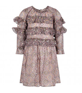 VELVETEEN Grey ''Luna'' girl dress with colorful prints