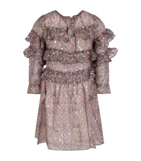 Grey ''Luna'' girl dress with colorful prints