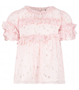 VELVETEEN Pink girl ''Hillary'' blouse with gold polka-dots