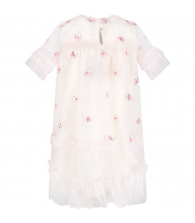 Pink ''Laylani'' dress with applied flowers