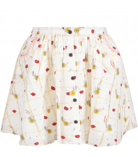 White ''Chrissy'' girl skirt with colorful flowers