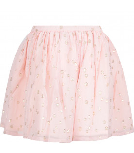 VELVETEEN Pink ''Jemima'' skirt with gold pola-dots