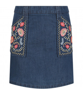 Denim ''Rhea'' skirt with colorful flowers