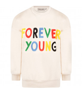 MINI RODINI Ivory kids sweatshirt with colorful ''Forever young'' writing