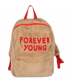 Beige kids backpack with red writing