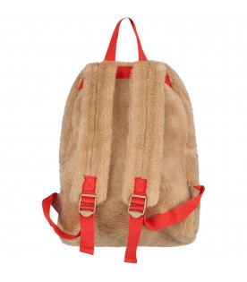 MINI RODINI Beige kids backpack with red writing