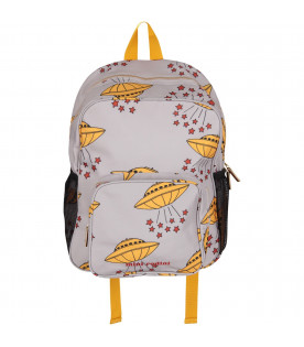 MINI RODINI Grey kids backpack with yellow ufo