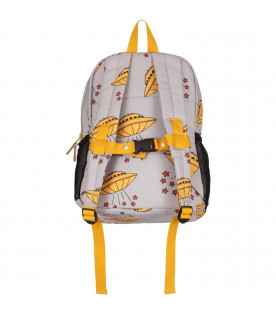 Grey kids backpack with yellow ufo