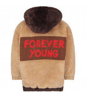 MINI RODINI Brown and beige kids jacket with red writing