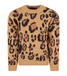 Beige girl sweater with animalier print