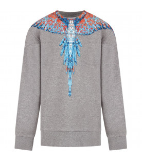 Grey boy sweatshirt with light blue and red iconic wings