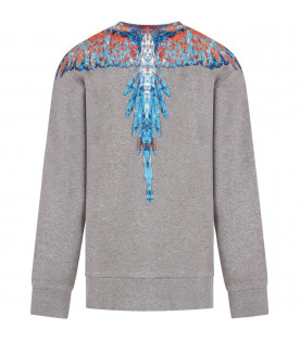 MARCELO BURLON KIDS Grey boy sweatshirt with light blue and red iconic wings