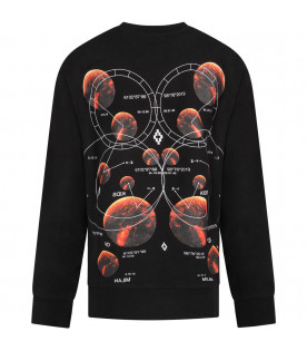 MARCELO BURLON KIDS Black boy sweatshirt with plantes and iconic cross
