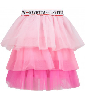 VIVETTA KIDS Pink, fucshia, purple ''Flora'' girl skirt