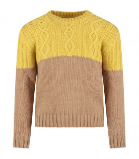 Yellow and camel kids sweater with iconic D