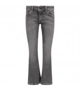 DONDUP KIDS Grey ''Neon'' girl jeans with iconic D