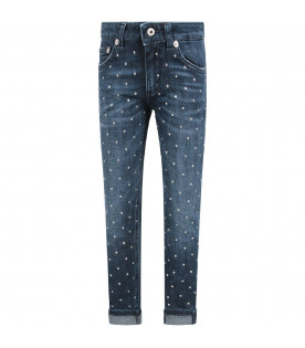DONDUP KIDS Denim blue ''Monroe'' girl  jeans with rhinestones