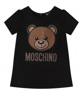 MOSCHINO KIDS Black babygirl dress with Teddy Bear