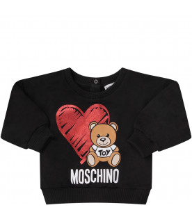 MOSCHINO KIDS Black babygirl tracksuit with Teddy Bear and red heart